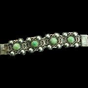 Vintage Handmade Hallmarked Mexico Sterling Jade Bracelet