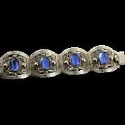 Vintage Handmade Mexican Sterling & Sapphire Blue Glass Stone Bracelet