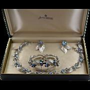 New Never Used Vintage Trifari Complete Rhinestone Jewelry Set