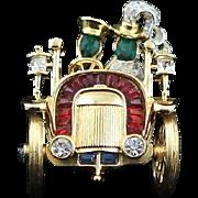 Outstanding Rare Crown Trifari Rhinestone Buggy Brooch