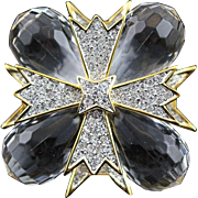 Famous Kenneth Jay Lane Book Gold Crystal Lucite Brooch/Pendent