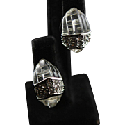 Vintage Kenneth Jay Lane Lucite Clear Swarovski Crystal Earrings