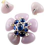 Vintage Lavender Flower Kenneth J. Lane Brooch & Earrings Set