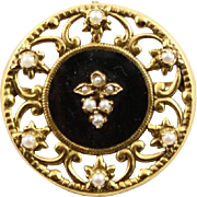 Victorian 14K Gold Mourning Brooch With Black Onyx & Seed Pearls