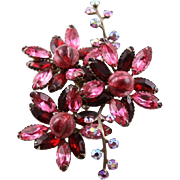 Vintage Beau Jewels Beautiful Poured Glass Red Brooch