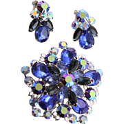 Elegant Vintage Beau Jewels Blue Rhinestone Set, Brooch & Earrings