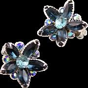 Pretty Vintage Montana Blue Beau Jewels Rhinestone Earrings