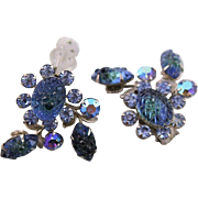 Wonderful Vintage Beau Jewels Blue Rhinestone Earrings