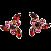 Stunning Beau Jewels Vintage 1950's Red & Pink Rhinestone Earrings