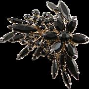 Pretty Vintage Beau Jewels Black Faceted Rhinestone Brooch