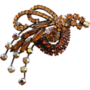 Vintage Gold Rhinestone Stylized Juliana Bird Brooch