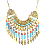 Much Older Vintage Kenneth J Lane Tribal Designed Necklace