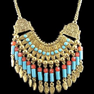 Much Older Vintage Kenneth J Lane Tribal Designed Necklace