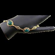 Vintage 12K Gold Filled Black Hills Gold & Green Agate Bracelet