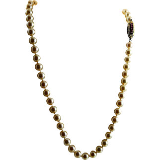 Amazing, Outstanding Take Your Breath Away Vintage Akoya Pearls & 12K Gold & Rubies Necklace