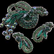 Outstanding Juliana D & E Vintage Green Stylized Bird & Earrings