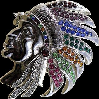 Dazzling Indian Chief Vintage Brooch