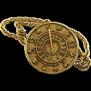 Very Nice Vintage Tortolani Zodiac Medallion Necklace