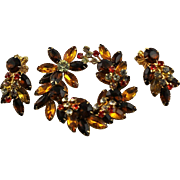 Beautiful Vintage Beaujewels Brooch & Earrings Set In Autumn Colors