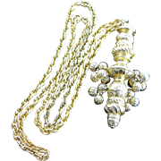 Great Vintage Gold Colored Bold Ethnic Pendent Necklace