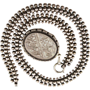 Outstanding Antique Locket & Book Chain Necklace