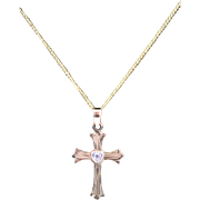 Beautiful Vintage 14K Gold Cross With Diamond And Chain