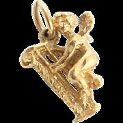 Darling Vintage 18K Gold Cherub Charm