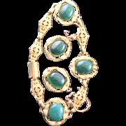 Outstanding Vintage Black Hills 12K Gold Filled & Green Agate Link Bracelet & Matching Earrings Are 10K Gold