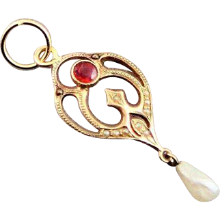 Antique Lavaliere 12K Gold  Pendent With Freshwater Baroque Pearl Simulated Ruby