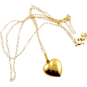 Vintage 14K Gold Heart Charm & Chain
