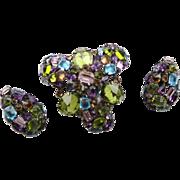 The Best Vintage Schreiner Jewel Tone Brooch & Earring Set