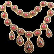 Fit For A Queen Antique Victorian Rose Cut Garnet & Cabochon Necklace
