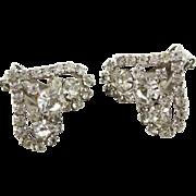 Vintage Valentines Heart Shaped Rhinestone Earrrings