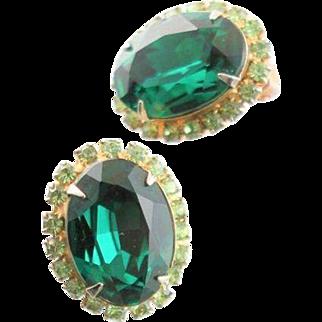 Vintage Kramer, New York Green Stone Earrings