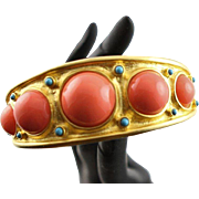 Estate Find Kenneth Jay Lane 22K Gold Plated Bangle Bracelet With Coral Colored Cabochons
