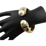 Exquisite Ciner Gold Cuff Bracelet With White Pearls