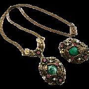 Unique Vintage Etruscan Revival Style Necklace & Brooch