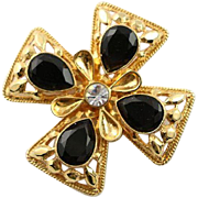 Beautiful Vintage St. John Maltese Cross Gold & Black Brooch/Pendent