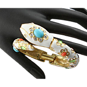 Spectacular Kenneth Jay Lane Open Mouth Serpent White Enamel Bracelet