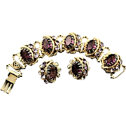 Spectacular 1950's Large Amethyst Colored Stone Bracelet & Earrings