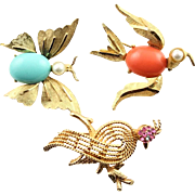 Three Vintage B S K Birds & Butterfly Brooches