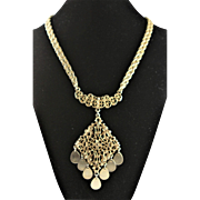 Vintage 1960's Gold Colored Pendent Necklace