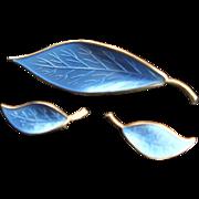 Vintage Blue Enamel David Anderson Golden Sterling Brooch &  Earrings