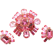 Vintage Amazing Pink Original By Robert Brooch & Earring Set