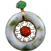Antique Asian Made Jade Coral & 9 K Gold Pendent