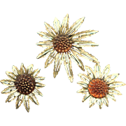 Popular Vintage Sarah Coventry Flower Brooch & Earrings
