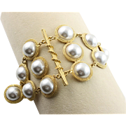 Vintage Massive Shoulder Brooch In Gold & White Extra Large Synthetic Pearls