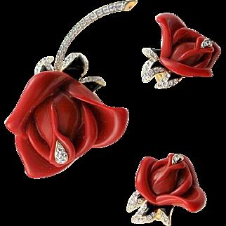 Famous Kenneth Jay Lane (KJL) Red Rose Lucite Brooch & Earrings