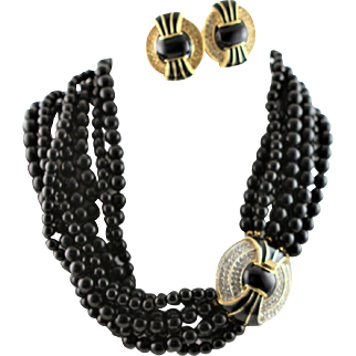 Vintage Kenneth Jay Lane Black Torsade Necklace With Brooch Style Clasp
