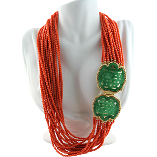 Magnificent Limited Edition Kenneth Jay Lane (KJL) Simulated Coral & Jade Mandarin Necklace
